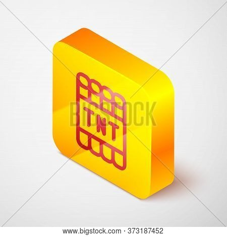 Isometric Line Detonate Dynamite Bomb Stick And Timer Clock Icon Isolated On Grey Background. Time B