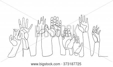 Cheerful Crowd Cheering Illustration. Hands Up. Group Continuous One Line Vector Drawing Silhouette