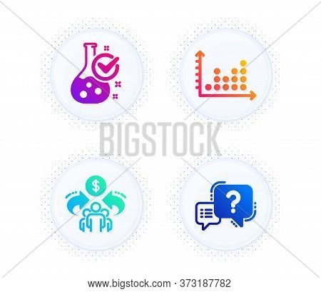 Sharing Economy, Chemistry Lab And Dot Plot Icons Simple Set. Button With Halftone Dots. Question Ma