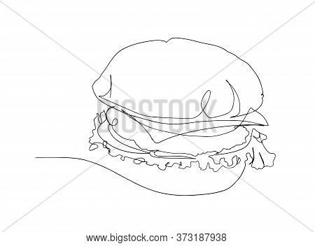 Hamburger Drawn In One Line On A White Background. One Line Drawing. Continuous Line. Vector. Drawin