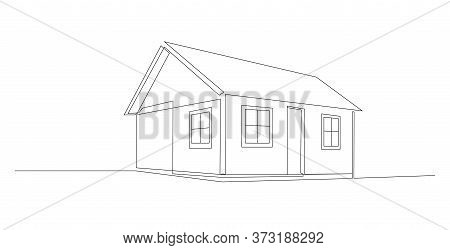 Continuous Line Drawing Of House, Residential Building Concept, Logo, Symbol, Construction, Illustra