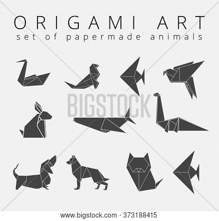 Origami Logo Design Template Inspiration, Vector Illustration, Paper Made Animal Illustration. Styli