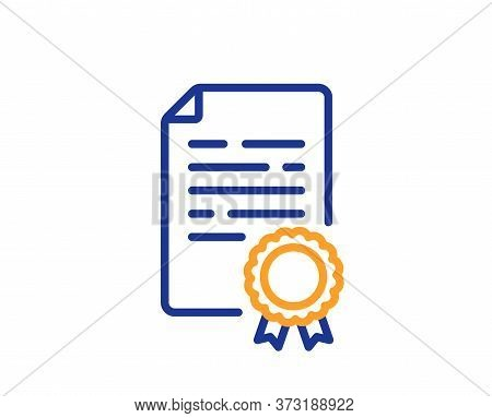 Certificate Diploma Line Icon. Document File Page Sign. Office Note Symbol. Colorful Thin Line Outli