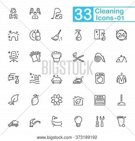 Cleaning Outline Icons. Set Of Cleaning Outline Icons, Vector Illustrations. Contains Such As: Windo