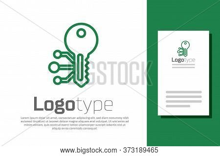 Green Line Cryptocurrency Key Icon Isolated On White Background. Concept Of Cyber Security Or Privat