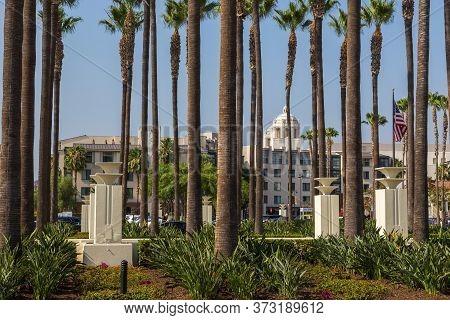Los Angeles, California, Usa- 11 June 2015: Father Serra Park At Paseo De La Plaza.