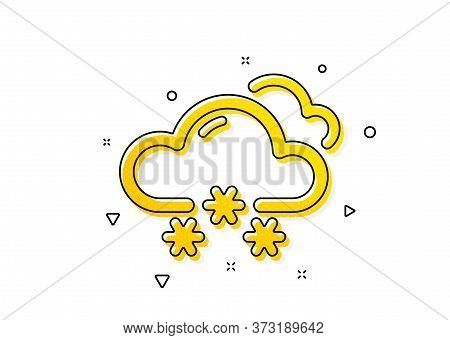 Clouds With Snowflake Sign. Snow Weather Forecast Icon. Cloudy Sky Symbol. Yellow Circles Pattern. C