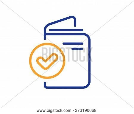 Verification Document Line Icon. Accepted Passport Sign. Approved Symbol. Colorful Thin Line Outline