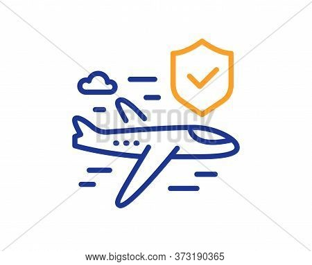 Flight Insurance Hand Line Icon. Risk Coverage Sign. Travel Protection Symbol. Colorful Thin Line Ou