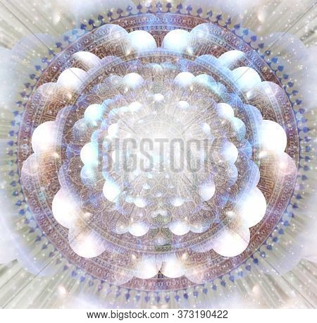 Shining aura in rays of light. Mandala. 3D rendering