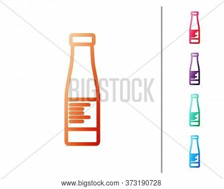 Red Line Sauce Bottle Icon Isolated On White Background. Ketchup, Mustard And Mayonnaise Bottles Wit