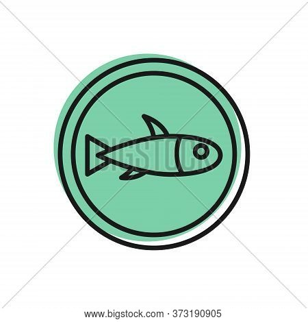 Black Line Served Fish On A Plate Icon Isolated On White Background. Vector.