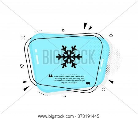 Air Conditioning Icon. Quote Speech Bubble. Snowflake Sign. Hotel Service Symbol. Quotation Marks. C
