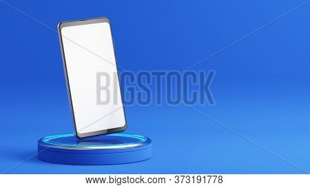 Mobile phone with a blank screen on podium. Mockup template of modern smartphone. 3d rendering