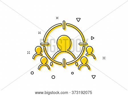 Marketing Target Strategy Symbol. Business Targeting Icon. Aim With People Sign. Yellow Circles Patt