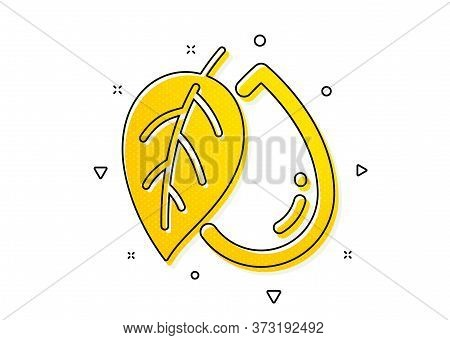 Organic Tested Sign. Mineral Oil Icon. Water Drop Symbol. Yellow Circles Pattern. Classic Mineral Oi