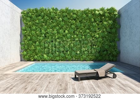 Inner courtyard with decorative vertical garden wall and pool. 3D illustration, rendering.