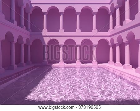 Courtyard with columns and swimming pool, pink colors, conceptual art, 3D illustration, rendering.
