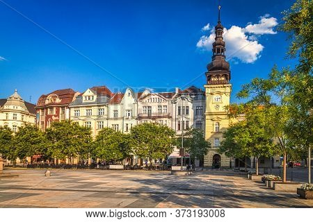 Masaryk Square In Historical Centre Of Ostrava Town, Czech Republic, Europe.