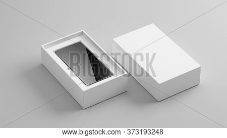 Blank open box with mobile phone isolated on grey background, Packaging mockup Template for your design. 3d rendering.