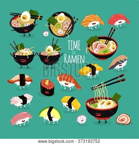 Ramen Sushi Set. Time For Ramen. Vector Illustration.