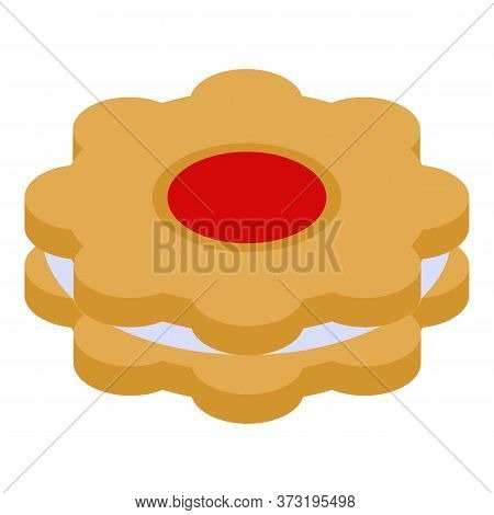Flower Jelly Cookie Icon. Isometric Of Flower Jelly Cookie Vector Icon For Web Design Isolated On Wh