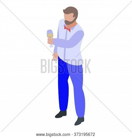 Hipster Sommelier Icon. Isometric Of Hipster Sommelier Vector Icon For Web Design Isolated On White
