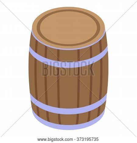 Wood Wine Barrel Icon. Isometric Of Wood Wine Barrel Vector Icon For Web Design Isolated On White Ba