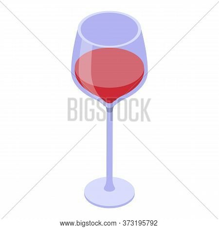 Half Wine Glass Icon. Isometric Of Half Wine Glass Vector Icon For Web Design Isolated On White Back