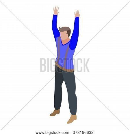 Boy Rage Hands Up Icon. Isometric Of Boy Rage Hands Up Vector Icon For Web Design Isolated On White