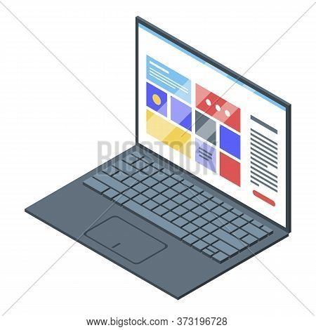 Laptop Keyboard Icon. Isometric Of Laptop Keyboard Vector Icon For Web Design Isolated On White Back