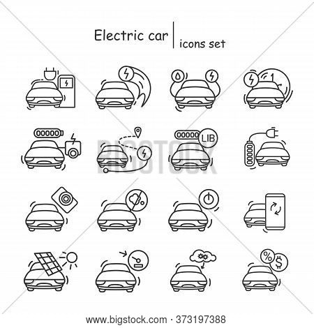 Electric Car Icons Set.hybrid And Alternative Power Source Vehicle Linear Pictograms.concept Of Zero