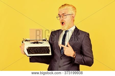 Good Choice. Vintage Typewriter. New Technology. Successful Businessman Use Retro Typewriter. Mature