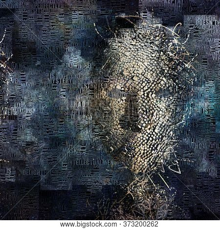 Surrealism. Human face mask made of cubes. 3D rendering