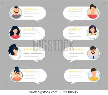 Feedback Chat Speech Bubble With Male And Female Avatar Set. Rate The Quality System Of A Five-star