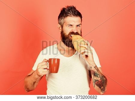 I Am Hungry. Perfect Match. Feel Hunger. Bearded Hipster Enjoy Breakfast Drink Coffee. Morning Tradi