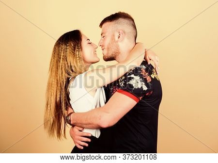 Couple Flirting. Romantic Kiss. Trust And Support. Cute And Sweet Relationship Is Dream For Every Gi