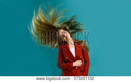 Fashion In Making. Woman In Classy Elegant Jacket. Businesswoman In Formal Suit. Hairdresser Beauty