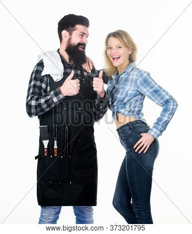 Picnic And Barbecue. Man Bearded Hipster And Girl Ready For Barbecue White Background. Family Bbq Id
