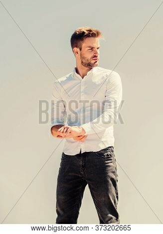 Attractive Man Taking Off Shirt. Confident In His Appealing. Bearded Guy Business Style. Hot Day Out