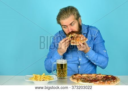American Pub Menu. Man Watching Football While Drinking Beer With Pizza And French Fries. Eating Piz