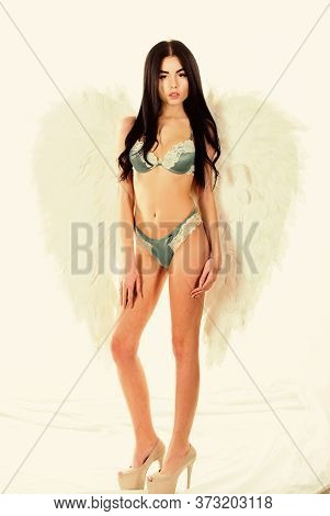 Delicate Sensual Woman Posing With Angel Wings. Girl Wear Luxury Lingerie And Angel Wings Accessory.