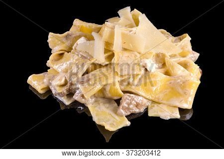 Delicious Pappardelle With Beef Boletus And Parmesan With Reflection, Isolated On Black Background