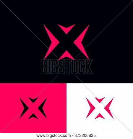 X Letter. X Monogram Consist Of Pink Arrows On A On Different Backgrounds. Logistic Company.