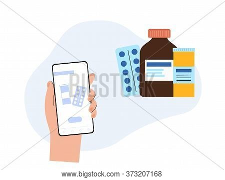 Medicine Shop Application On The Smartphone With Bottles, Syrup And Pills On The Screen. Flat Cartoo