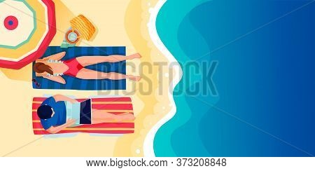 Young Couple On Beach, Vector Flat Cartoon Top View Illustration. Summer Holiday Travel And Vacation