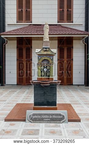 Victoria, Seychelles - February 3th, 2019: The Monument Fountaine Jubilee De Diamond Placed On The I
