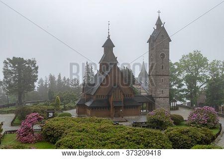 Karpacz, Dolnośląskie / Poland-june 20, 2020.:the Oldest Wooden Temple In Poland. Old Evangelical Ch