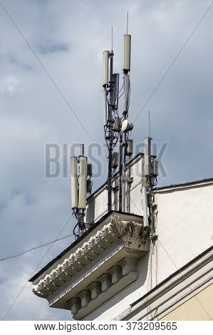 5g And 4g Towers Are Installed On The Roof Of The House, Mobile Internet In The City, The Danger Of
