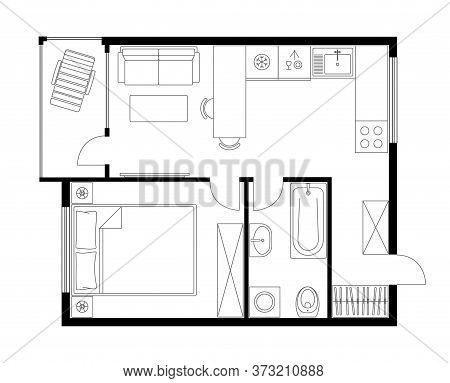 Apartment plan layout studio, condominium, flat, house. One bedroom plan apartment small space. Interior design elements kitchen, bedroom, bathroom with furniture. Vector floorplan living room.